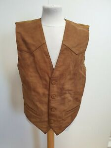 E747-MENS-HIDEPARK-BROWN-SOFT-LEATHER-CASUAL-WAISTCOAT-UK-M-EU-50