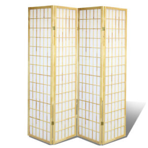 4 Panel Shoji Screem Room DividerPrivacy Wall With Rice Paper