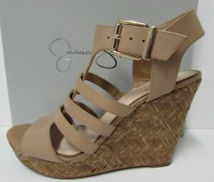 27ce8330738c Jessica Simpson Size 8.5 Beige Leather Wedge Heels New Womens Shoes ...