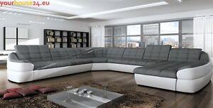 Divano ad angolo con funzione sleep bianco grigio cassettoni per letto future xl ebay - Divano letto aramis ...