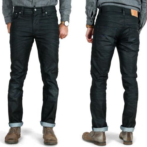 Nudie Herren Slim Fit Jeans-HoseThin Finn Black Coated Indigo2 Wahl