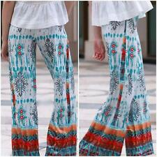 Women Elastic High Waist Ethnic Print Trousers Wide Leg Baggy Palazzo Long Pants