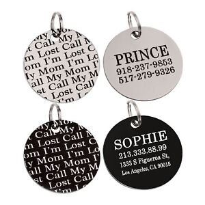 dog tag personalized pet id name custom laser engraved stainless