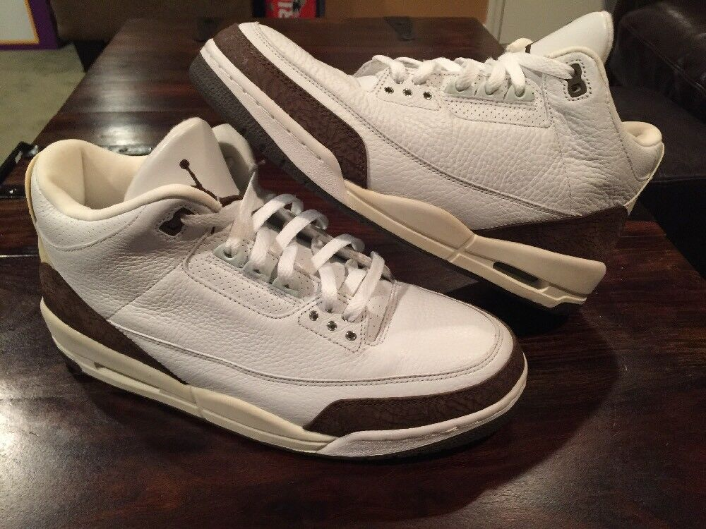 Rare Vintage 2001 Nike Air Jordan 3 III Retro White Mocha Mens 11.5