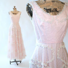 Vintage 40s PINK sheer floral ruffle tiered Wedding cocktail party Maxi dress