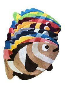Bath-Mat-Bath-Mat-Badevorleger-Kid-039-s-Carpet-Fish-19-11-16x31-1-2in-100-Cotton