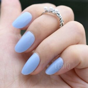 24pcs candy full nail tips pure sky blue short cover