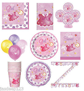Pink-Baby-Shower-Party-Tableware-Decorations-Supplies-Clothesline-Girl-9-Items