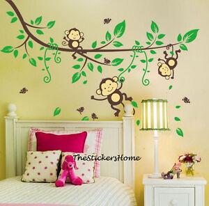 Cheeky-Monkey-Jungle-Tree-Wall-Stickers-Art-Decal-Baby-Nursery-Kid-Bedroom-Decor