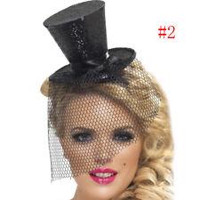 Cylinder Burlesque Miniature Fascinator Silver Glitter Mini Top Hat Headband
