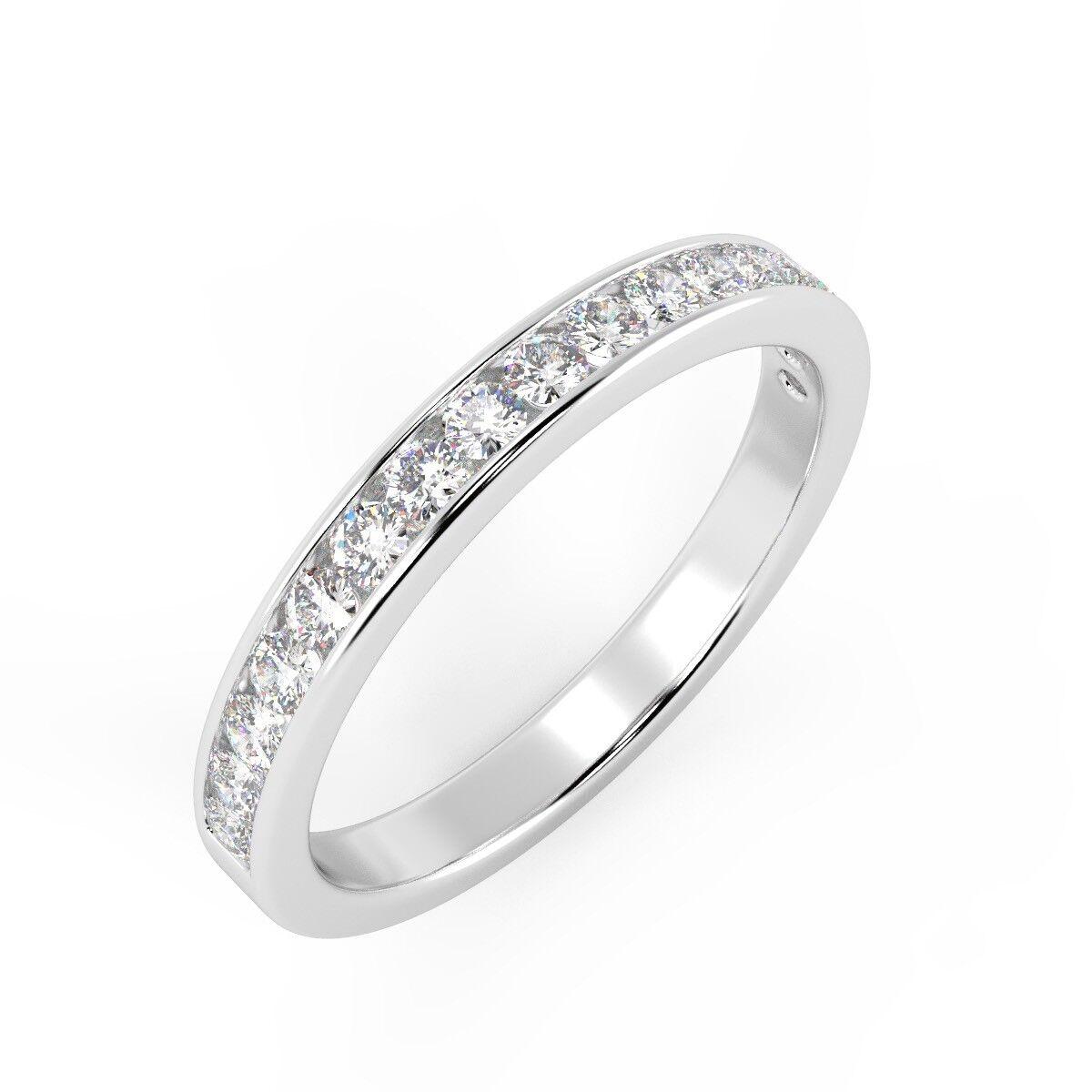 0.30ct Round Natural Diamond Channel Set Half Eternity in 18K White gold