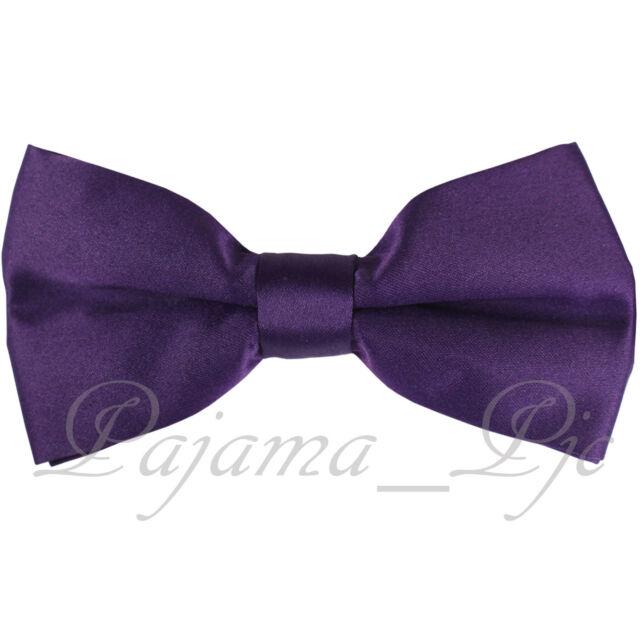 73cfb4762f34 Deep Purple Men's Solid Pre-tied Bow tie Straight Cut Bowtie Wedding Prom  10-