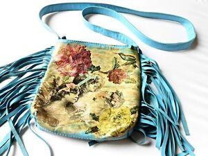 Crossbody-Blue-Leather-Decoupage-Messenger-Bag-Vintage-Chic-Boho-Clutch-Purse