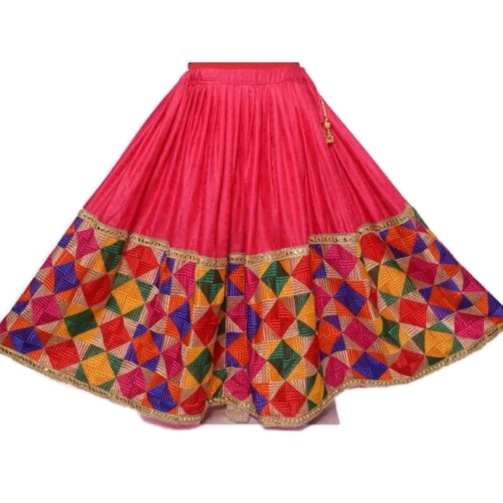 Indian Phulkari Embroidered Lehnga Stylish Ghagra Vintage Skirt