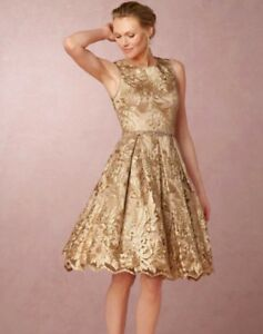 0307e2e7a78 Image is loading Anthropologie-BHLDN-Rosa-Gold-Dress-Eliza-J-Size-