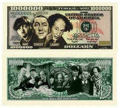 Three Stooges Novelty Million Dollar Bill 5 Lot