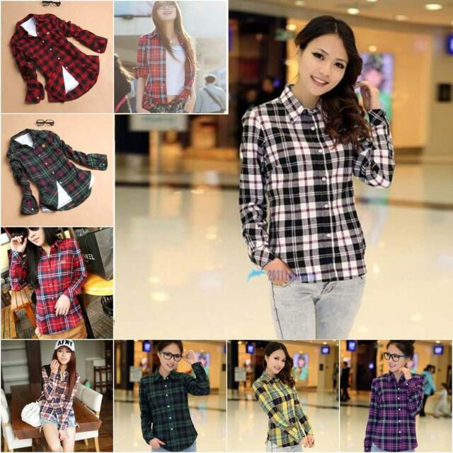 Womens Button Down Lapel Shirt Plaids & Checks Flannel Shirts Tops Blouse TL