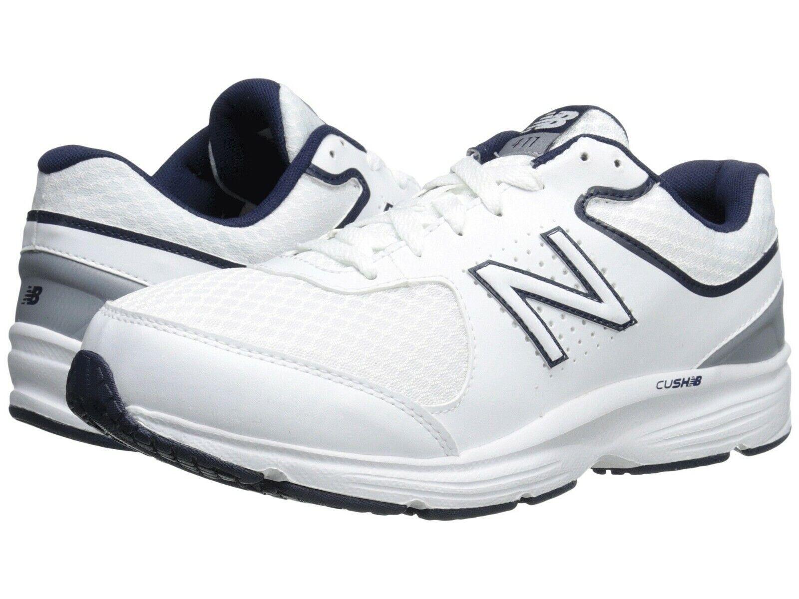 Nuevo Para Hombre New Balance MW411v2 blancoo Azul Cuero Atléticas Zapatos para Caminar Auténtico
