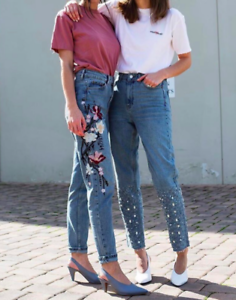 Topshop Limited Tall High Waisted Gemstone Mom Jeans W28 US 6 Blogger