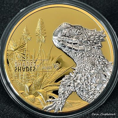 """South Pacific """"shades Of Nature Series A Great Variety Of Goods Coins & Paper Money Special Section 2018 Cook Islands $5 Sungazer Lizard .999 Silver Coin"""