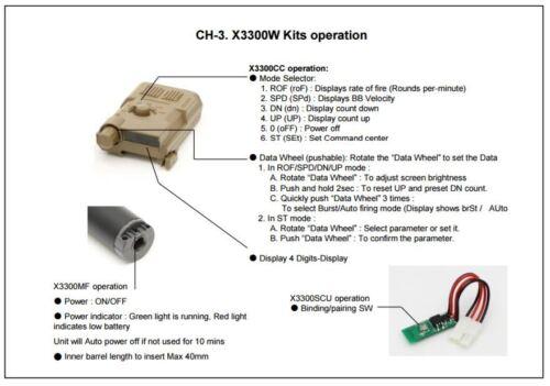 CASCO Airsoft XCORTECH x3300w Cronografo BB ADV TRACCIANTE Unit Control System-UK Venditore