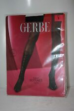 Gerbe Paris ~ BOTTINES ~ limited edition tights BNWT black with silk Size 3 med