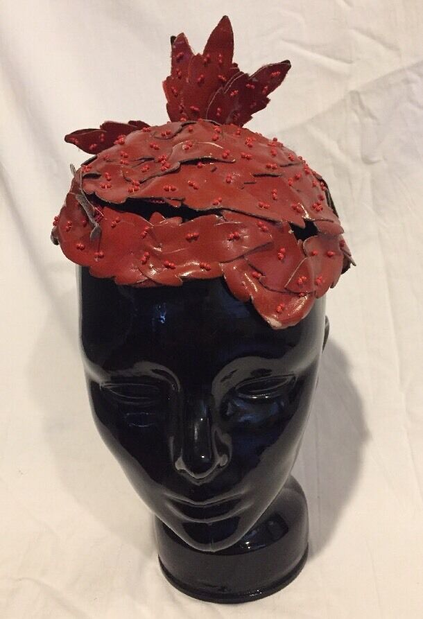 **UNIQUE** Vintage 1920's BES BEN Red Beaded Leather Hat Handmade Hand Beaded