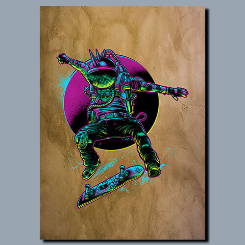 Canvas Space Skater Metal poster WALL ART Sign Plaque poster