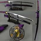 Purple Silk Cord Japanese Samurai Sword Katana Blade Sharp Can Cut Bamboo Paper
