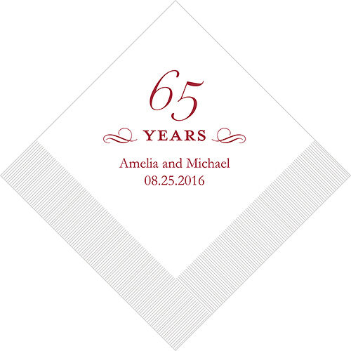 500 Printed 65th Anniversary Birthday Luncheon Napkins