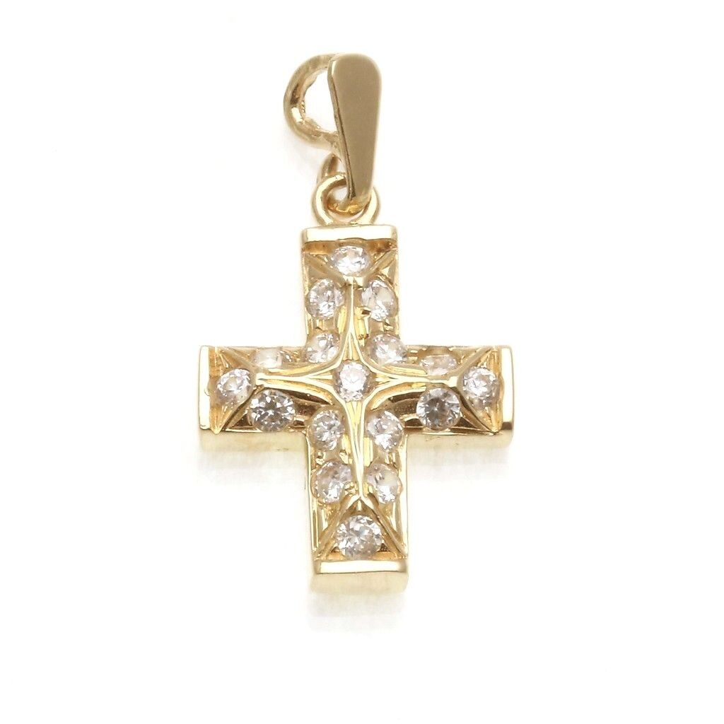 Vintage 14k Cross Cubic Zirconia Pendant Solid Small yellow gold Estate