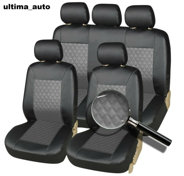 Pair of Front GREY /& BLACK Leatherette Car Seat Covers Nissan Micra