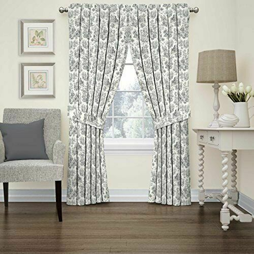 Waverly Charmed Life Black Onyx Toile, Black Toile Curtains