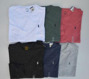 Men-039-s-POLO-Ralph-Lauren-T-Shirt-LONG-SLEEVE-Crew-Neck-Tee-Solid-S-M-L-XL-XXL