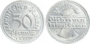 Inflationszeit Empire 50 Pfennig 1919 D Seltenes Year/Mintmark Prfr St (4)