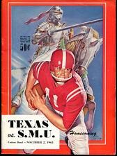 1963 Texas Longhorns v SMU Mustangs Football Program Ex Cond 5014