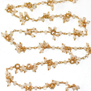 3 Feet SMOKY CLUSTER Rosary Chain 24K Gold Plated DIY Jewelry Gemstone Crafts