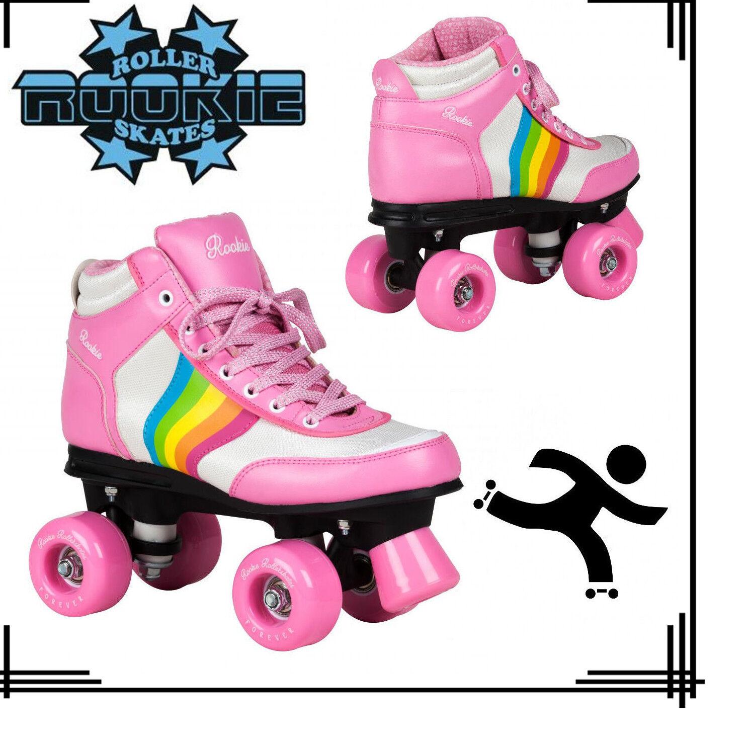 Rookie Rookie Rookie Forever V2 Vegan Retro Style Girls Jr Adult Roller Skates Rainbow Rosa UK fd6ab4