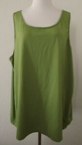 Maggie-Barnes-Top-Plus-3X-Avocado-Green-Stretch-Knit-Sleeveless-Shell-Tank