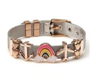 Rainbow Steel Heart Bracelet