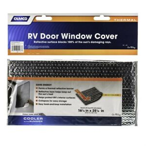 New Sunshield Reflective Thermal Door//window Cover camco 45167 Window Cover for