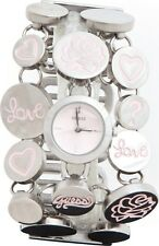 NEW GUESS SILVER TONE, MARQUISE LOVE,PINK,HEART,ROUND,BRACELET WATCH W10588L1