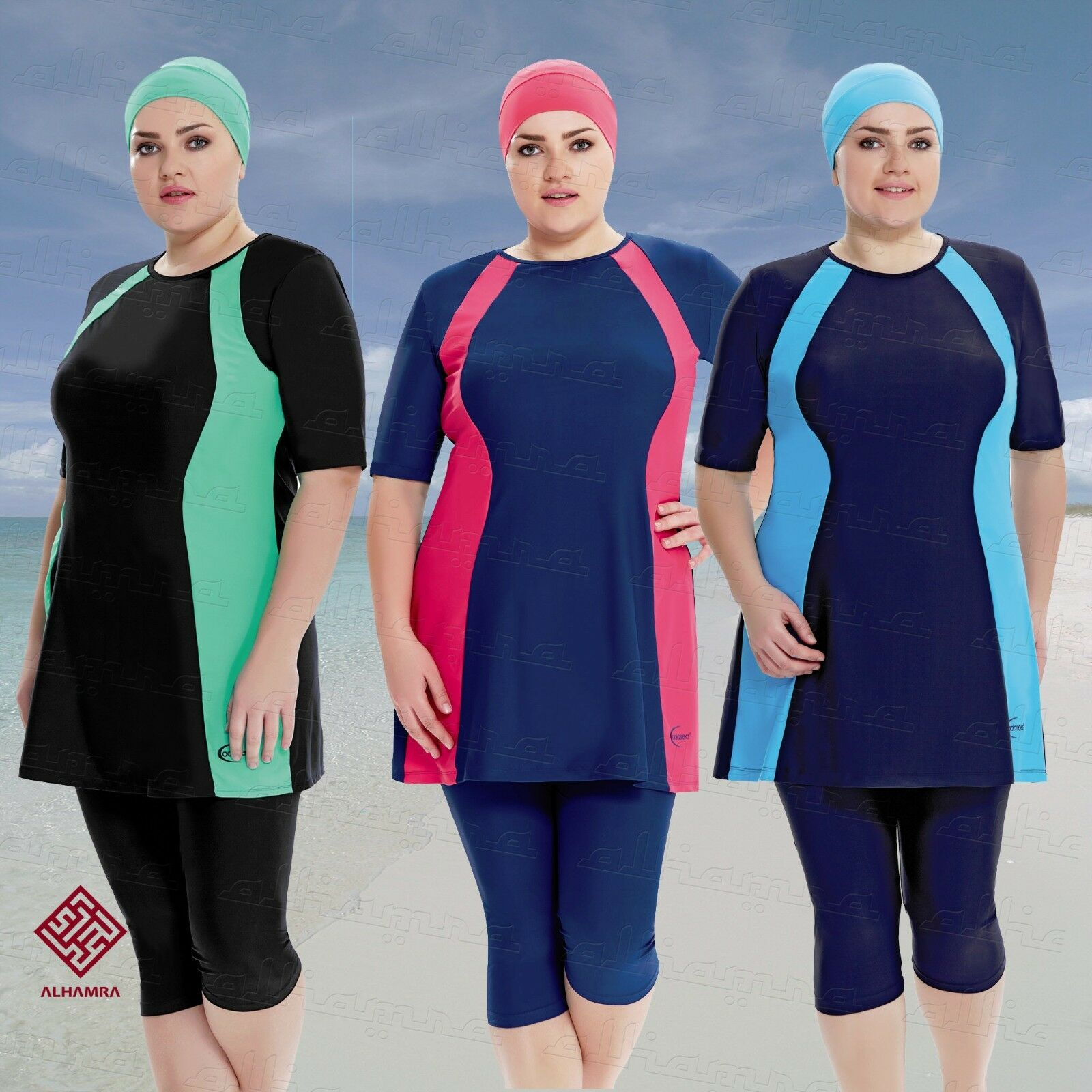 AlHamra Semi Cover Marina Burkini Modest Women Swimsuit Muslim Plus Size 3XL-6XL