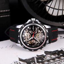 Winner Men's Skeleton Auto Automatic Mechanical Watch Silicone Wrist Band Black