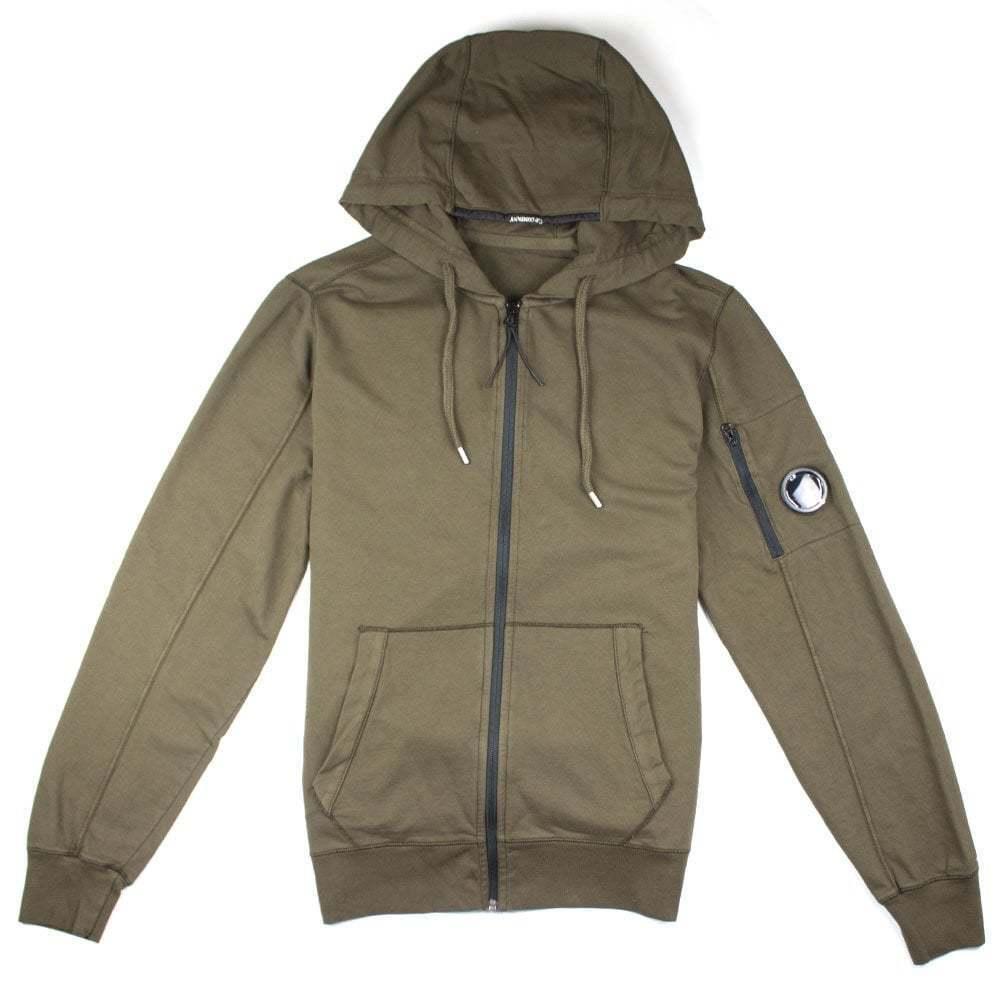 CP Company Khaki Watch Viewer Lens Hooded Zip Up Sweatshirt