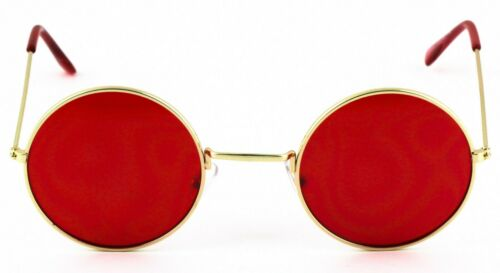 Metal Round Circle Ozzy Elton John Blue Red Color Tint Lennon Style Sunglasses
