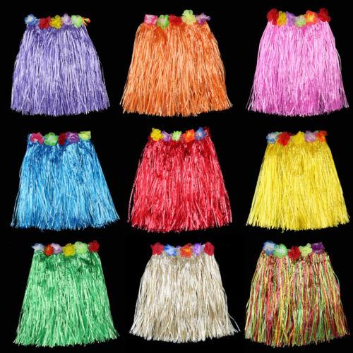 Hawaiian Hula Grass Skirt Fancy Dress Adult Costume With Flower Long SE