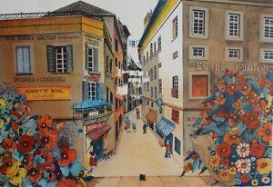 Jean Heine: Pequeña Calle Mercante - Litografía Original Firmada, 320ex