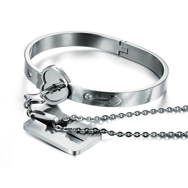 Heart Love Lock Bracelet with Lock Key Pendant Titanium Steel Bangle Couple Sets