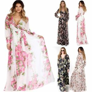 Womens Chiffon Maxi Dress Long Sleeve Evening Cocktail Party